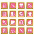 stomatology dental icons set pink square vector image vector image