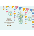 Wedding invitation with decoration of hanging jars vector image