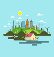 flat design city abstract town vector image
