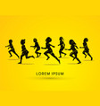 silhouette children running vector image