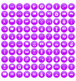 100 national flag icons set purple vector image vector image
