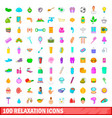 100 relaxation icons set cartoon style vector image vector image