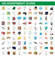 100 apartment icons set cartoon style