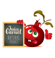 banner for fresh juice with funny pomegranate vector image vector image