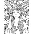 black and white fantasy art with fairy girl vector image vector image