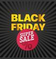 black friday sale red logo super november sale vector image vector image