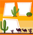 border template with silhouette camels vector image vector image