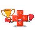 boxing winner cross mascot cartoon style vector image vector image