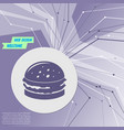 burger sandwich hamburger icon on purple abstract vector image vector image