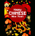 chinese new year poster of oriental holiday symbol vector image vector image