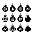 Christmas ball christmas bauble icons set vector image vector image