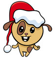 dog on christmas cartoon vector image vector image