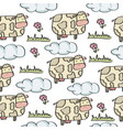 doodle seamless pattern with cows vector image vector image