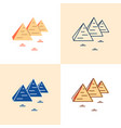 egyptian pyramids icon set in flat and line style vector image vector image