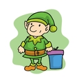 Elf in Merry Christmas holiday cartoon vector image