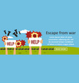 escape from war banner horizontal concept vector image vector image