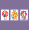 family time set cards or posters vector image