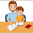 father helping his son do homework vector image