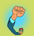 fist up hand gesture man vector image vector image