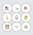 flat icon child set of toy rattle nappy and vector image vector image