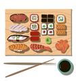 Flat sushi set with transparent background vector image