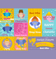 ganesh chaturthi banner concept set flat style vector image