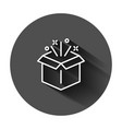 gift box icon in flat style magic case on black vector image vector image