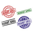 grunge textured nudist area seal stamps vector image vector image