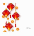 happy chinese new year card with red lanterns and vector image