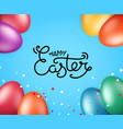 happy easter greeting card with holiday elements vector image