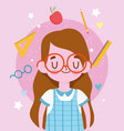 happy teachers day cute student girl with uniform vector image vector image