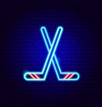 hockey neon sign vector image vector image
