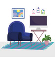 home office workplace chair carpet with computer vector image