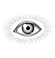 human eye with rays tattoo hand draw vintage vector image vector image