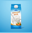 isolated almond milk in paper package vector image vector image