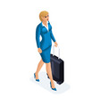 isometric of a beautiful woman on a business trip vector image