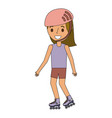 kid wearing helmet and roller skate funny vector image vector image