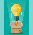 light idea bulb ejected from cardboard box vector image