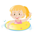 little girl using yellow floating ring vector image vector image