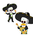 mexican skulls mariachis playing guitar and vector image vector image