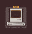 old personal computer retro pc icon emblem with vector image