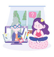 online education girl sitting in chair and vector image vector image