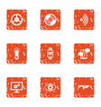 operative intervention icons set grunge style vector image vector image