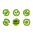 organic product label green healthy natural food vector image