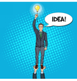 Pop Art Businessman with Lightbulb Team Work vector image vector image