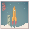 Retro Flat Design Rocket Start Space Stars vector image vector image