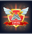 shield with failure banner swords and wings vector image