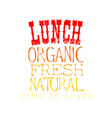 sketch style emblem for lunch menu organic vector image vector image