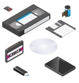 Storage media actual size proportions detailed vector image
