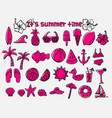 summer time doodle icon set vector image vector image